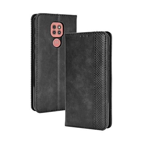 GOGME Leather Folio Funda para Motorola Moto E7 Plus Funda, Flip Wallet Carcasa Tipo Libro Protector Magnético y Plegable de PU + TPU Soporte de Ranuras para Tarjetas, Negro