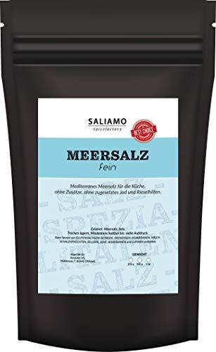 Mediterranes Meersalz fein , frei von Zusätzen ohne zugesetztes Jod oder Rieselhilfe | Saliamo (1000)