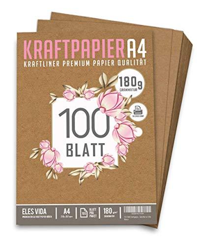 100 Blatt Kraftpapier A4 Set - 180 g - 21 x 29,7 cm - DIN Format - Bastelpapier & Naturkarton Pappe Blätter aus Kraftkarton zum Drucken, Kartonpapier Basteln für Vintage Hochzeit Geschenke Etiketten