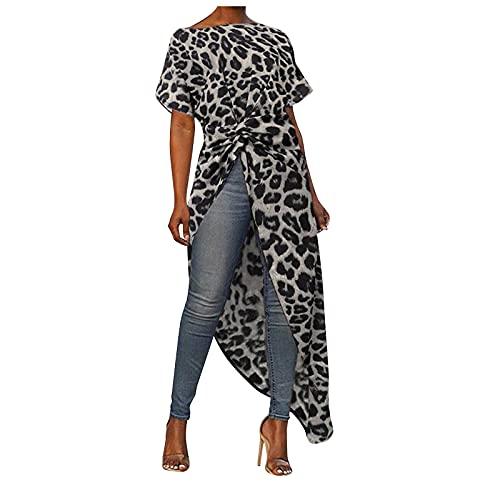 Asymmetrisch Lang Oberteile Damen Leopardmuster Mode Longshirt Bluse Elegante Kurzarmshirt Oversize UnregelmäßIges Casual Tunika Tops Tie Knot Lang Sweatshirt Top Minikleid Schlitz Trend Blusekleid