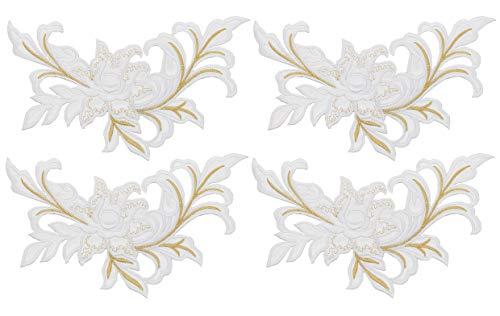 4 Stks Geborduurde pioen Bloemen Patch Bloemen Applique Naaien op Patch Badge voor Kant Stof Kleding DIY T-Shirt, Rok, Jeans, Vests, Craft Supply Accessory