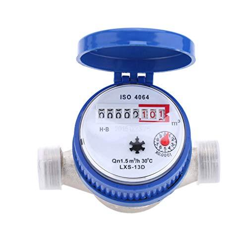 F-blue Compteur d'eau Froide 15mm 1/2 Pouce Compteur d'eau avec Compteur d'eau Couvercle de Protection Raccords en Laiton gratuits pour Garden Home
