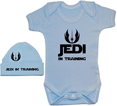 Acce Products Jedi in Training Body Body Body Barboteuse T-shirt et bonnet Bonnet 0 à 12 mois - Bleu - XXS