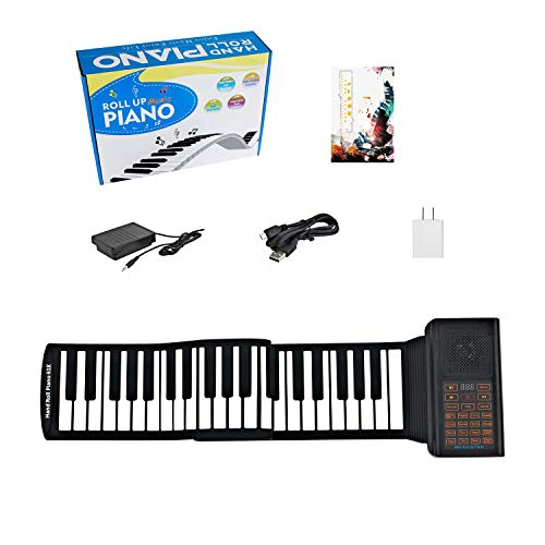 61 Keys Portable Piano Electric Piano Keyboard Hand Roll Piano Roll Up Keyboard Piano Foldable Piano Electronic Keyboards Roll Out Piano Music Keyboard Kids Keyboard Piano for Kids Travel Piano