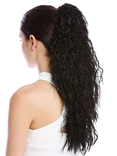 WIG ME UP - N461-V-1 Postiche couette queue de cheval longue volumineuse bouclée boucles anglaises crêpé afro noir 55 cm