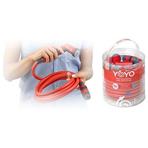 FITT YOYO by Manguera de Jardin, roja, Ligera y Robusta. YOYO Viene con Pistola, Conectores y Empalme rapido con aquastop, se extiende de 15 a 30 Metros.