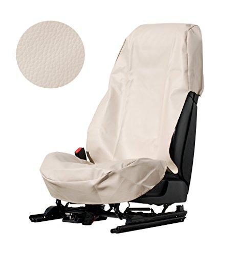 L&P Car Design GmbH A080 Sitzschoner Werkstattschoner Sitzbezug aus Robustem Kunstleder Beige Schonbezug Wasserdicht + Pflegeleicht + Robust + Langlebig (1) mit und Ohne Airbag Seitenairbag