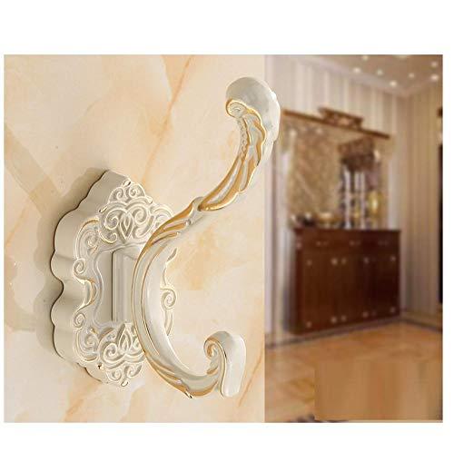 2pcsaluminum aleación retro color clásico tallado alto e inferiores ganchos dobles perforados fácil de instalar gancho de toalla de pared-C3 resistente a la corrosión fácil de limpiar e higiénic