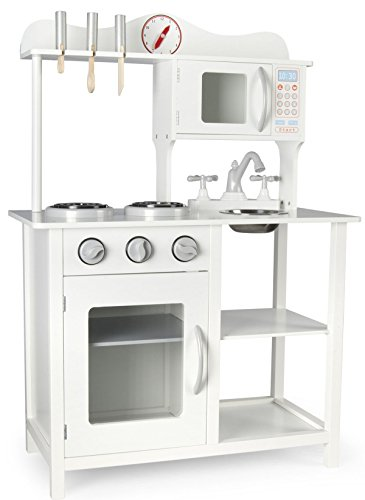 Leomark Moderno Cocina Madera Infantil de Juguete - Classic White - Accesorios: Reloj, microondas, para Niños, Estilo Escandinavo, Dim: 60x30x85 (Altura) cm
