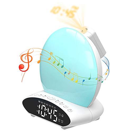 B.F Wake Up Light, Despertador Proyector con Simulación de Amanecer y Anochecer, 2 Alarmas 7 Luces de Colores 20 Niveles de Brill, Función Snooze 8 Sonidos Naturales, Radio FM