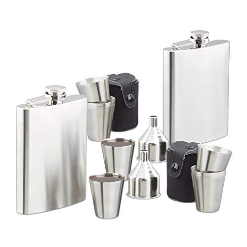Relaxdays 14 TLG Flachmann Set XL, Edelstahl, 2 Flachmänner 200 ml, mit 8 Bechern und 2 Trichtern, Großpack für unterwegs, Silber