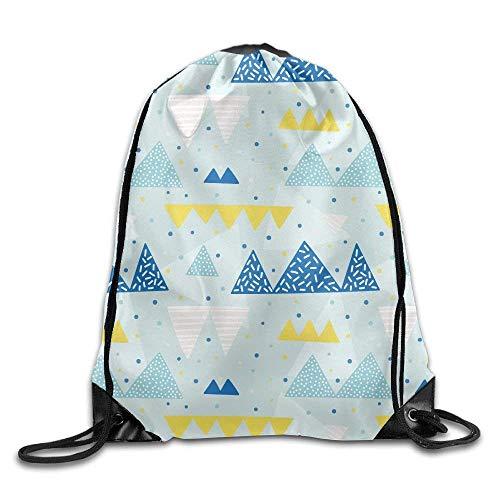 JHUIK Drawstring Bag Backpack,Mochila portátil con cordón Gymbag Mochila para IR de Compras Deporte Yoga Azul y Amarillo Trangles Viaje Mochila para Acampar
