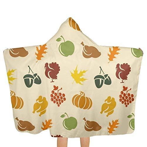 ZHSL Fond de Thanksgiving Kids Beach Bath Bathed Hooded Shower Towl