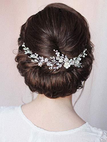 Handcess Braut Hochzeit Kristall Stirnband Silber Blume Perle Haarteile Strass Braut Haarschmuck für Frauen und Mädchen