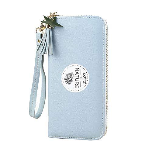 Portafoglio singolo Doodle semplice Portafoglio femminile lungo Mini portafoglio Fashion Studente Piccolo fresco con cerniera portamonete - Azzurro
