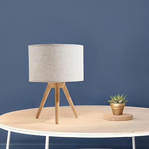 Moderno E27 lámpara de mesa tela lámpara escudo lámpara mesa de madera trípode diseño escritorio lámpara lámpara de noche lámpara de lectura creativa para sala de estar dormitorio