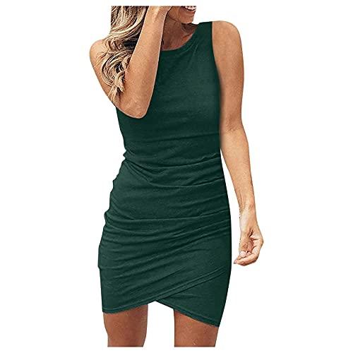 APOKIOG Damen Dehnbarer eng anliegender Hüftrock, Spaghettiträger, rückenfreies Volantkleid, sexy heißes Sommerkleid Schlichter Stil,...