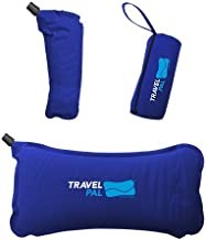 Travel Pal Therapeutic Self Inflating Lumbar Support Pillow Blue Comfortable Orthopedic Portable Inflatable Tailbone Spine Coccyx and Sciatica Pain Relief for Work Driving, Uber, Camping, Flights