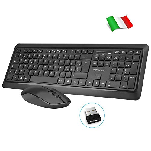 TECKNET [Versione Aggiornata] Kit Tastiera e Mouse Wireless, Tastiera Mouse Senza Fili Slim con Full-Size Layout Italiano QWERTY per Smart TV, PC, Laptop del Windows, Linux OS