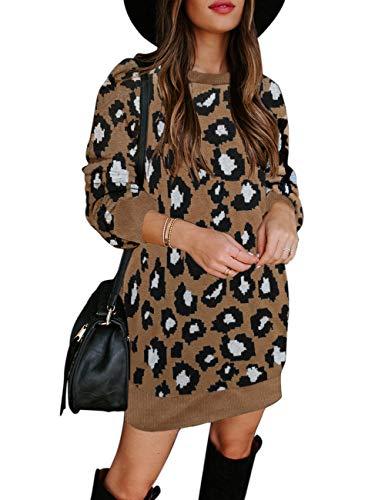 MEROKEETY Women's Leopard Knit Pullover Sweater Dress Long Sleeve Crew Neck Winter Sweaters Brown