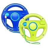 Jadebones 2 Pack Racing Steering Wheel with Wrist Strap for Wii and Wii U Remote Controller (Blue+Green)
