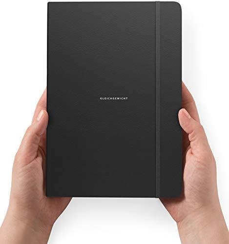 GLEICHGEWICHT - Tagesplaner & Tagebuch für Erwachsene (Erfolgsjournal) – DIN A5 Buch für 100 Tage - Tageskalender undatiert - schwarzes Leder
