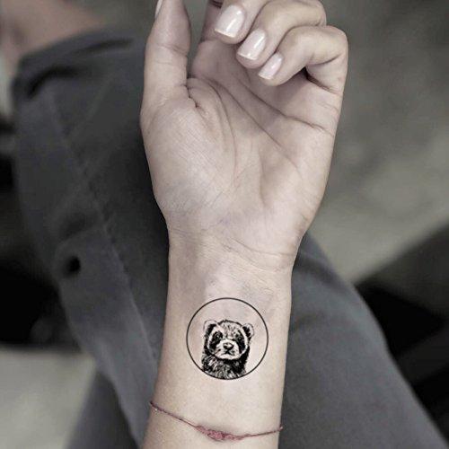Circle Ferret Temporary Fake Tattoo Sticker (Set of 2) - www.ohmytat.com