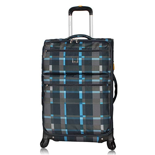Lucas Designer Luggage Collection - Expandable 24 Inch Softside Bag - Durable Mid-sized Ultra Lightweight Checked Suitcase with 8-Rolling Spinner Wheels (Old School Navy)