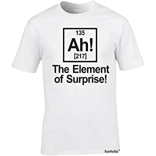 ELEMENT OF SURPRISE (XXL - WHITE) NEW PREMIUM LOOSEFIT T SHIRT - slogan funny clothing joke novelty vintage retro top men's ladies women's girl boy men women tshirt tees tee t-shirts shirts fashion urban cool geek science geek periodic table symbol physics chemistry big bang theory t for him her brother sister mum dad birthday ideas gifts christmas present gift S M L XL 2XL 3XL 4XL 5XL- by Fonfella