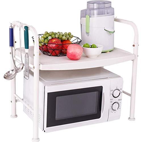 GUOSHUCHE Estantería Rack de mesa de la cocina rack multifunción Gabinete estante de la microonda de almacenamiento en rack rack de almacenamiento principal (color: blanco, Tamaño: 55,5 * 37 * 56.5cm)