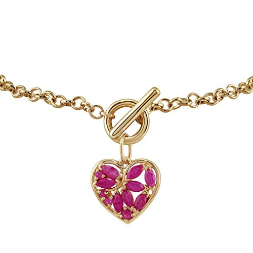 9ct Yellow Gold 0.88ct Ruby Heart Charm 19cm Bracelet
