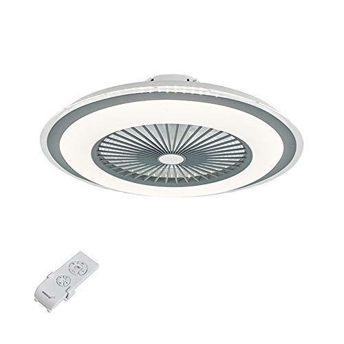 Iluminación moderna de ventiladores de techo acrílicos con iluminación LED empotrada de techo con mando a distancia, hoja oculta regulable, velocidad ajustable, acabado gris