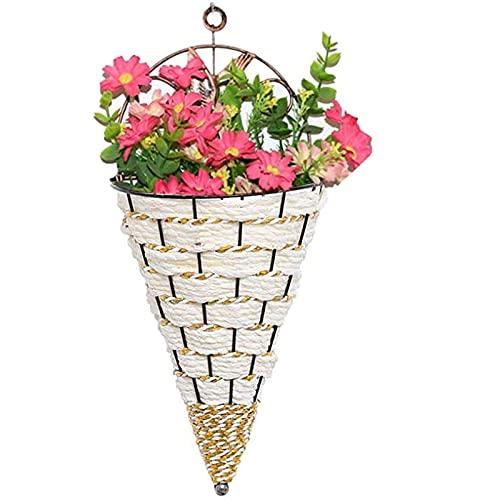 Muur opknoping mand bloempot rieten geweven muur bloempot plantenbak opslag container voor buiten balkon tuin decoratie (Color : White)