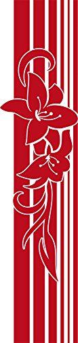 GRAZDesign Wandtattoo Deko Banner Wand Aufkleber Wandbanner Lilien mit Linien (131x30cm//031 Rot)