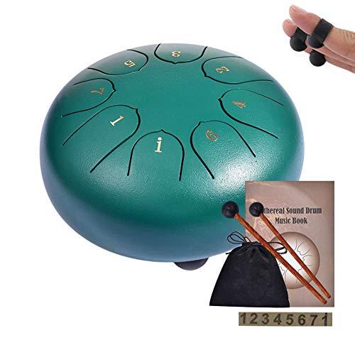 Tambor Handpan Drum,WZTO 8 Notas 6 Pulgadas Tambor de Lengüetas Tongue de lengüeta de Acero Tambores de hendidura para Percusión Mazos de Tambor y Bolsa de Transporte cubierta para dedos (Verde) (Electrónica)