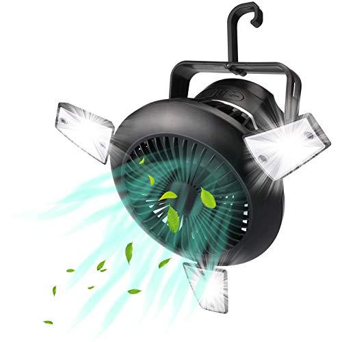 WOERD Ventilador de Camping Mini 4000 MAh Ventilador de Mesa con Luz Nocturna Solar USB Recargable Ventilador de Luz para Acampar al Aire Libre Hogar Senderismo Oficina
