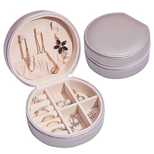 Joyero de viaje, pequeño joyero portátil, caja de joyas de piel sintética, caja para joyas redonda, organizador de joyas de piel, caja de joyas bien organizada para anillos, collares (oro)