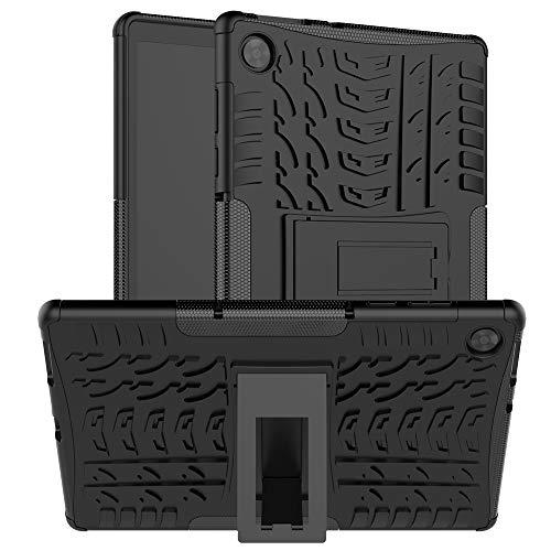 Kemocy Funda para Lenovo Tab M10 HD 2nd Gen TB-X306F/TB-X306X, funda protectora de TPU + PC con función de soporte, funda para Lenovo Tab M10 HD (2ª generación) de 10,1 pulgadas, color negro