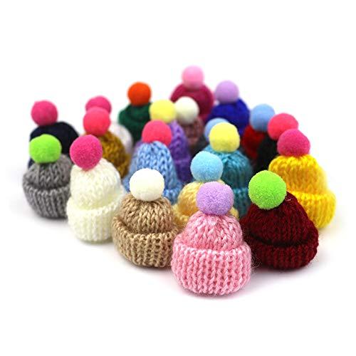 48 Pcs Mini Knit Hats Christmas Mini Knitting Wool Yarn Hats,Christmas Tree Ornaments, Cute Doll Hat,DIY Hair Accessories Jewelry Making DIY Craft Art,Assorted Color