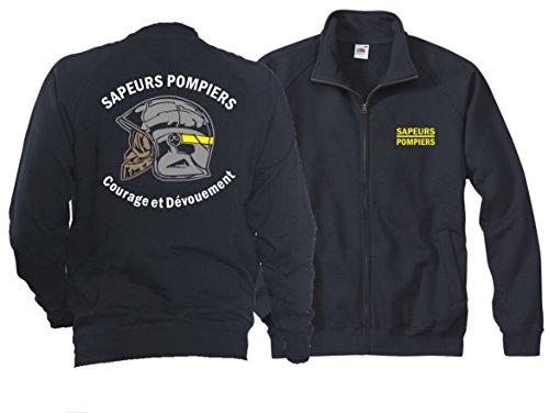 Veste sweat (Bleu marine/bleu marine) Sapeurs Pompiers Casque – Courage et dévouement – Marque Jaune XXL bleu marine