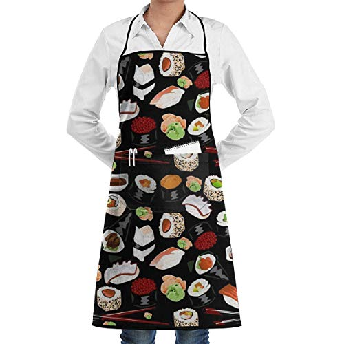 Japanese Sushi Grill Aprons Kitchen Chef Bib - Professional for BBQ Baking Cooking for Men Women Pockets Custom Aprons