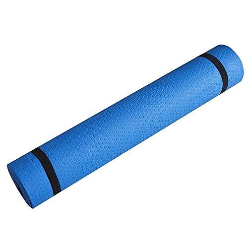 HUUATION Mat de Yoga Mat de Aptitud Deportiva Antideslizante 3MM-6MM Three Eva Comfort Foam Yoga Matt para el Ejercicio, Yoga y alfilera de Gimnasia.(5mm-Blue)