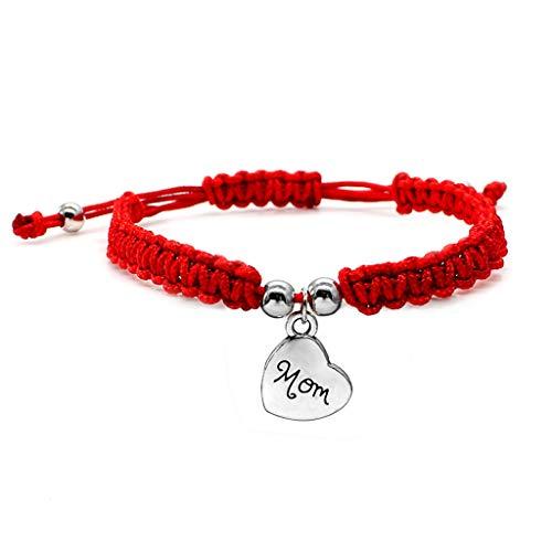 VVXXMO Pulseras con colgante de mamá de la suerte, pulseras trenzadas rojas