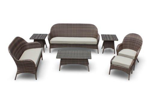 Hot Sale Lapetus 7 Piece Sofa Conversation Set By Luxus Outdoor Patio Furniture Set Garden Table Chairs Wicker Garden Home Backyard Porch Lounge Ottoman