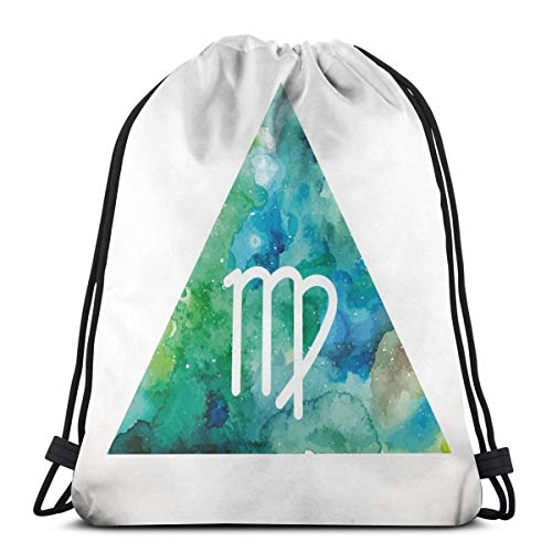 LLiopn Drawstring Sack Backpacks Bags,Virgo Watercolor Abstract Triangle Background Ancient Culture Inspiration,Adjustable.,5 Liter Capacity,Adjustable.
