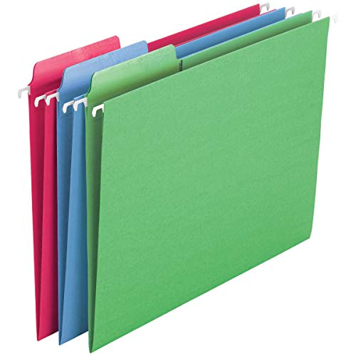 Smead Erasable FasTab Hanging File Folder, 1/3-Cut Built-in Tab, Letter Size, Assorted Primary Colors, 18 per Box (64031), Primary Color Assortment