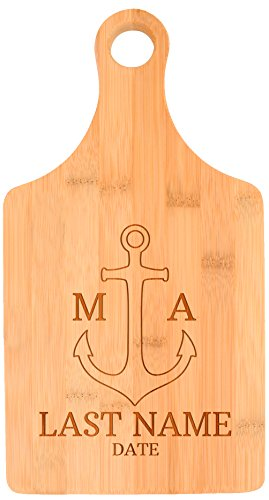 Personalized Paddle Shaped Bamboo Cutting Board, Best Gifts For Boaters