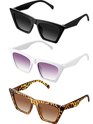 Frienda 3 Pares de Gafas de Sol Cuadradas Vintage con Ojo de Gato Gafas de Sol Pequeñas de Moda Cateye Unisex