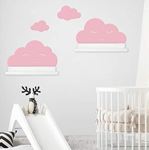 Wandtattoo Wolken in rosa mit Augen für IKEA Regalbrett Ribba/Mosslanda 55 cm Bilderleiste für Babyzimmer Kinderzimmer – Aufkleber für Wand Tapete