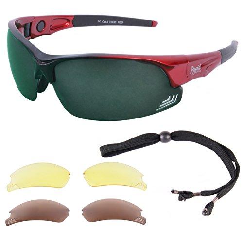 Rapid Eyewear Rapid Eyewear 'Edge' Rot POLARISIERTE GOLFBRILLE Mit Wechselgläser x 3. Für Herren und Damen. Golf Sonnenbrille Mit Blendschutz UV 400 Gläsern
